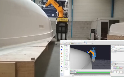 Mobile Roboter (mit FTS) zum Schleifen von Booten